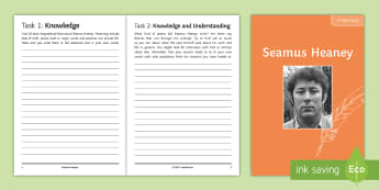 Seamus Heaney Poet Study Booklet - Seamus, Heaney, Literature, KS4, Poetry