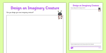 Design an Imaginary Creature Worksheet / Activity Sheet to Support Teaching on Aliens Love Underpants - design, imaginary creature, imaginary, creature, activity, worksheet