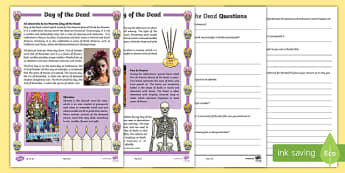 Day of the Dead Differentiated Reading Comprehension Activity - ESL Reading