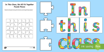 In This Class, We All Fit Together Display Pack - back to school, new school, get to know you activity, class display, friends, team, PSHE