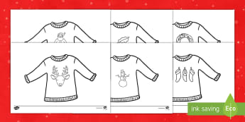 Christmas Jumper Colouring Pages English/Portuguese - Christmas, Nativity, Jesus, xmas, Xmas, Father Christmas, Santa, eal
