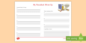 My Hanukkah Write Up Worksheet / Activity Sheet - Religion, Jewish, Miracle of the oil, festival of lights, menorah, dreidel, gelt, synagogue, decembe