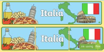 Italia Striscione - Italiano, decorazione, europa, classe, italiano, italian, materiale, scolastico