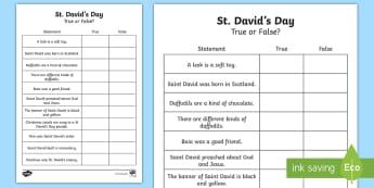St David's Day True or False Activity- - Cennin Pedr, cennin, daffodil, leek, Cymru, Wales,Cymraeg, cardiau, cards, traddodiad, tradition, St