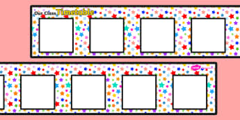 Large Multicoloured Stars Themed Visual Timetable Display - timetable