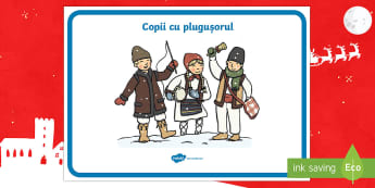 Cu plugușorul Planșă - Christmas, colindători, colindă, plugușor, la urat, copii, tradiții, obiceiuri, Crăciun, materi