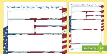 American Revolution Biography Writing Template - American Revolution, Revolutionary War, Biography, Writing, American Wars, Soldier