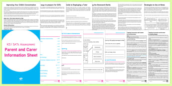 KS1 SATs Survival: Parents' Information Pack - SATs Survival Materials Year 2, SATs, assessment, 2017, English, SPaG, GPS, grammar, punctuation, sp