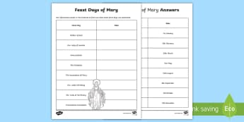 Feast Days of Mary Activity Sheet - Mary, The assumption, Annunciation, immaculate conception, The visitation