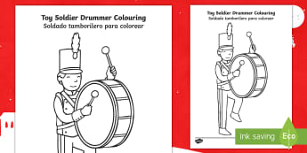 Toy Soldier Drummer Colouring Page English/Spanish  - colouring, sheets, fine motor skills, toy soldier, soldier, soldier colouring sheets, toy soldier dr