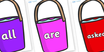Tricky Words on Buckets - Tricky words, DfES Letters and Sounds, Letters and sounds, display, words