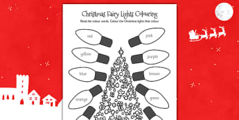 Christmas Fairy Lights Colouring Sheet - christmas, colouring