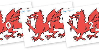 Numbers 0-31 on Welsh Dragons - 0-31, foundation stage numeracy, Number recognition, Number flashcards, counting, number frieze, Display numbers, number posters