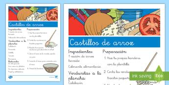 Castillos de arroz Receta - La comida, cocinar, comer, manualidad,Spanish