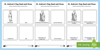 St Andrew' Day Differentiated Read and Draw Activity Sheet - Scotland, Patron Saint, Saints, November, Scottish events, worksheet