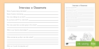 Interview a Classmate Activity Sheet - USA Back to School for 3-5 (August 1st), classmate interview, new classroom, students activities, ba
