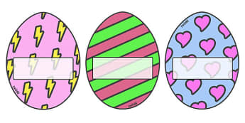 Editable Self-Registration/ Display Eggs - Self registration, register, editable, labels, registration, child name label, printable, display, Easter, bible, egg, Jesus, cross, Easter Sunday, bunny, chocolate, hot cross buns