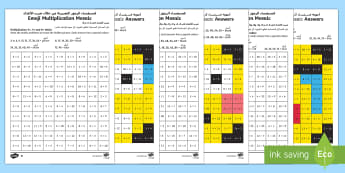 Emoji Multiplication Mosaic Differentiated Activity Sheets Arabic/English - times tables, counting in 3s, counting in 4s, counting in 6s, counting in 7s, counting in 8s, counti