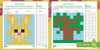 Little Acorns Mixed Operations Maths Mosaic Activity Sheets - Twinkl fiction, originals, Little Acorns, KS1, Maths, addition ,subtraction, multiplication, workshe