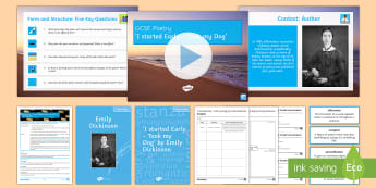 GCSE Poetry Lesson Pack to Support Teaching On 'I Started Early - Took My Dog' by Emily Dickinson - American Poets, poetry analysis, poetry comparison, poetry anthology, edexcel, time and place, clust