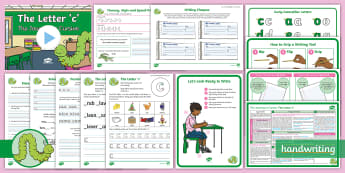 The Journey to Cursive: The Letter 'c' (Curly Caterpillar Family Help Card 1) KS1 Activity Pack - Nelson handwriting, penpals, fluent, joined, legible, handwriting