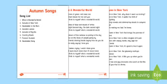 Elderly Care - Autumn Song Lyrics - Autumn, Seasons, Display, September, October, November, Leaves, Harvest, Activity Co-ordinators, Sup