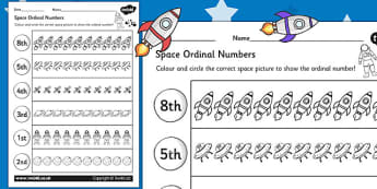 Space Themed Ordinal Numbers Worksheet - space, numbers, order