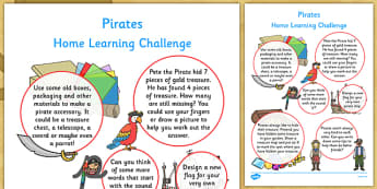 Pirates Home Learning Challenge Sheet Reception FS2 - eyfs, pirates, home learning, challenge
