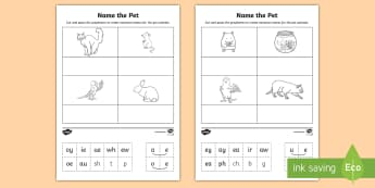 Middle East Phase 5 Phonics Name the Pet Cut and Stick Activity Sheet - Reading, Blending, digraphs, split digraph,  Phonics, UAE, vowel digraphs, worksheet