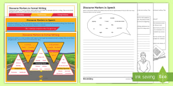 Discourse Markers Resource Pack - connectives, formal writing, extended writing, writing speech, writing dialogue, upgrading writing.