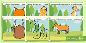 Material de sprijin pentru predarea poveștii Gruffalo - Planșete pentru modelaj cu plastilina - Gruffalo, scriere, cuvinte cheie, română, materiale, fișe, careu de cuvinte, ortografie, repovest