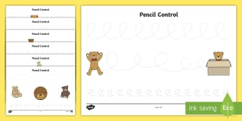 Teddy Bear Pencil Control Activity Sheets - writing, mark making, letter formation, Physical Development, early years, mark-making, handwriting,
