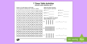 7 Times Table Worksheet / Activity Sheet English/Italian - 7 Times Table Worksheet / Activity Sheet -six times table, maths, mathematics, multiplication, multiply, times,