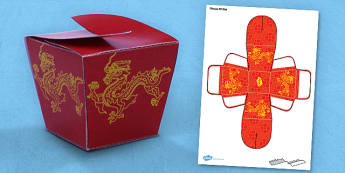 Chinese Gift Box Net Template - gift box, paper, model, chinese, activity