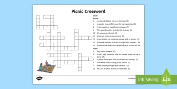 Picnic Crossword - games, activity, puzzle, challenge, family, boredom
