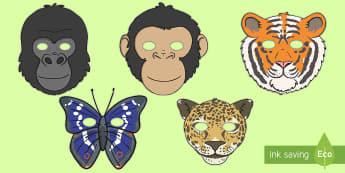 Jungle & Rainforest Role Play Masks - Jungle, rainforest, animal, animals, Role Play, mask, vines, A4, display, snake, forest, ecosystem, rain, humid, parrot, monkey, gorilla