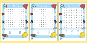 Materials Word Search (Differentiated) - materials, material, sheet