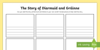 Retelling the Story of Diarmuid and Gráinne Activity Sheet - Myths, Legends, Irish tales, the Fianna, Celtic, worksheet, recount