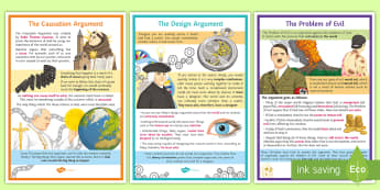 Existence of God A2 Display Posters - Design, Causation, Problem of evil, God, Theism, Atheism