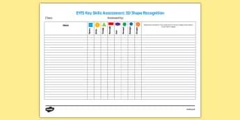 EYFS Key Skills Assessment 2D Shape - eyfs, key skills, assessment