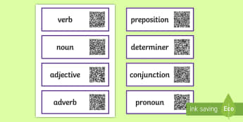Grammar Terms Code Hunter - QR Codes, scan, interactive, personal learning, label, cards, display, vocabulary, English, definiti