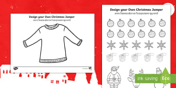 Christmas Jumper Design Cut and Stick Activity Sheet English/Hindi  - design, cut, jumper, christmas art, holidays, celebration, new clothes