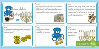 Chanukka Informationskarten  - Hanukkah, Judentum, jüdisch, Religion, Religionsunterricht, Ethik, ,German