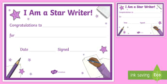 Star Writer Certificate- - CfE Literacy, reading comprehension strategies, star writer, certificate,Scottish
