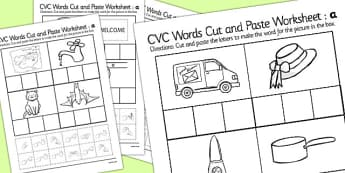 CVC Words Cut and Paste Worksheets 'a' with British Sign Language