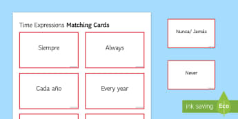 Time Expressions Matching Cards Spanish