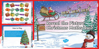 LKS2 Maths Reveal the Picture Christmas Quiz PowerPoint - mastery, fluency, reasoning, problem solving, whole class, pair, verbal reasoning, solve problems, m