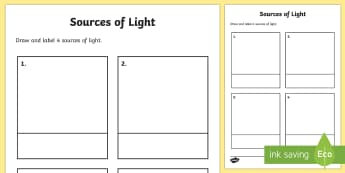 Sources of Light Worksheet - sources of light, where does the light come from, light, bright, dark, worksheet, sheet, activity, source