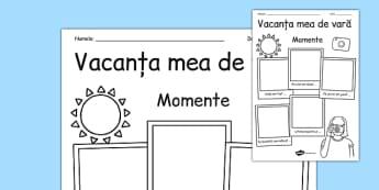 Momente din vacanța mea de vară - Fișă - momente, vacanță, vară, fișă de lucru, activitate, materiale didactice, română, romana, material, material