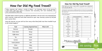 How Far Did My Food Travel? Activity Sheet - Food Miles, Local produce, Sustainability, Worksheet, Transport, HWB 2-35a,Scottish